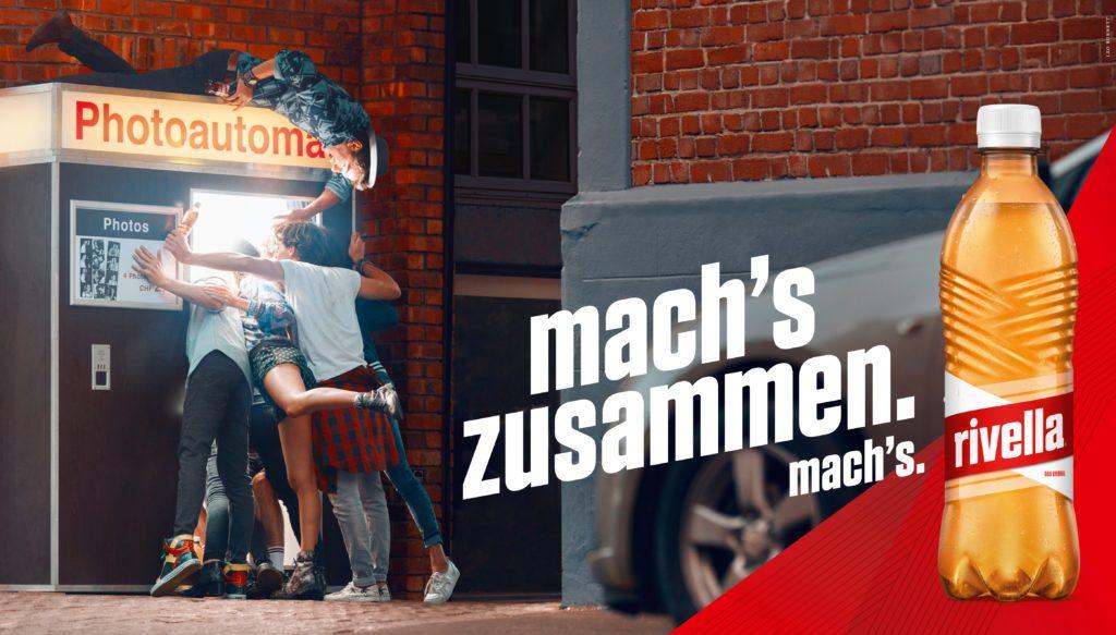 """HANDOUT- Ab Anfang wird die neue Kampagne von Rivella schweizweit ueber verschiedene Medienkanaele kommuniziert. Die neu entwickelte Kampagne """"mach's"""" ruft Schweizer dazu auf aktiv und optimistisch durchs Leben zu gehen und Dinge anzupacken. (PHOTOPRESS/Rivella)"""
