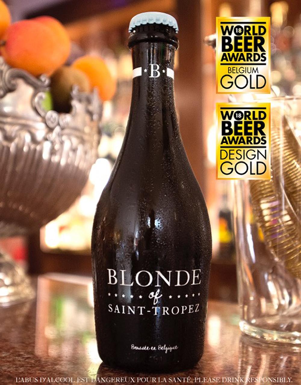 """Hat beim World Beer Award 2018 für belgisches Bier und Design erneut die Gold-Auszeichnung erhalten: """"Blonde of Saint-Tropez""""."""
