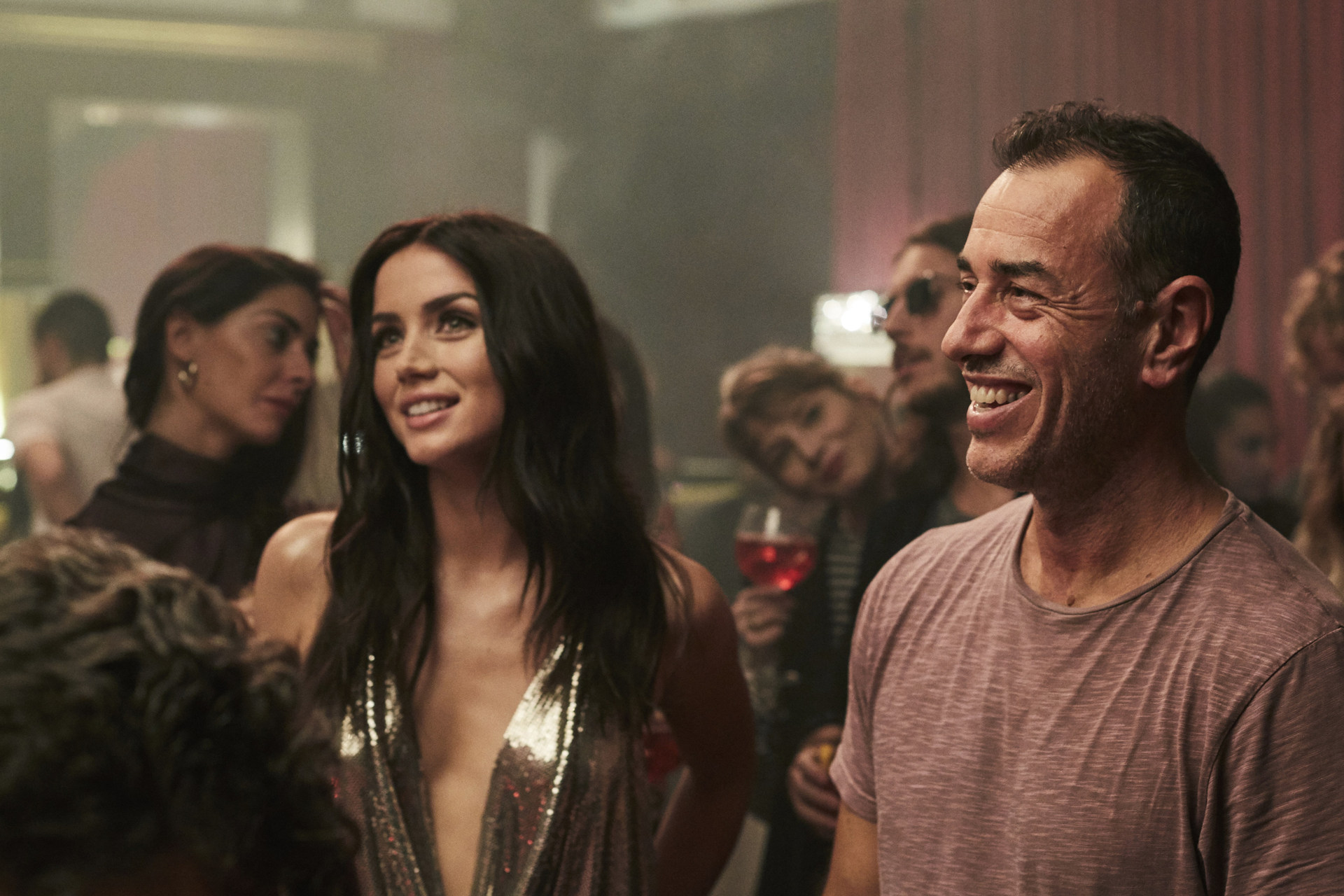 Ana De Armas and Director Matteo Garrone behind the scenes of the 2019 Campari Red Diaries short movie, Entering Red, in Milan
