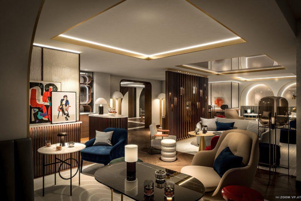 Lounge-Rendering des Neues Schloss Privat Hotel Zürich, Autograph Collection © Marriott International/Arabella Hospitality